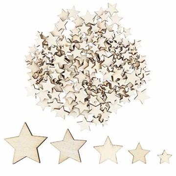 Holzsterne zum Basteln und Dekorieren | 5 verschiedene Größen | Sterne aus Holz | 1 cm bis 3 cm | naturfarben | 250 Stück | Ideal als Weihnachts-Deko, Tischdeko, Streudeko - 1