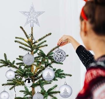 Homewit 116-teilig Weihnachtskugeln Weihnachtsdeko Set, Weihnachtsbaumspitze Stern Weihnachtsbaumschmuck Set in Silber, Kunststoff Weihnachtsbaumkugeln mit Aufhänger Plastik Christbaumkugeln, Mehrweg - 3