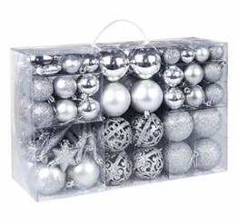 Homewit 116-teilig Weihnachtskugeln Weihnachtsdeko Set, Weihnachtsbaumspitze Stern Weihnachtsbaumschmuck Set in Silber, Kunststoff Weihnachtsbaumkugeln mit Aufhänger Plastik Christbaumkugeln, Mehrweg - 1