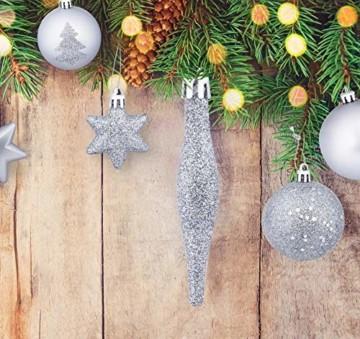 Homewit 116-teilig Weihnachtskugeln Weihnachtsdeko Set, Weihnachtsbaumspitze Stern Weihnachtsbaumschmuck Set in Silber, Kunststoff Weihnachtsbaumkugeln mit Aufhänger Plastik Christbaumkugeln, Mehrweg - 4