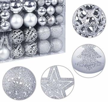 Homewit 116-teilig Weihnachtskugeln Weihnachtsdeko Set, Weihnachtsbaumspitze Stern Weihnachtsbaumschmuck Set in Silber, Kunststoff Weihnachtsbaumkugeln mit Aufhänger Plastik Christbaumkugeln, Mehrweg - 5