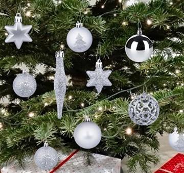 Homewit 116-teilig Weihnachtskugeln Weihnachtsdeko Set, Weihnachtsbaumspitze Stern Weihnachtsbaumschmuck Set in Silber, Kunststoff Weihnachtsbaumkugeln mit Aufhänger Plastik Christbaumkugeln, Mehrweg - 6