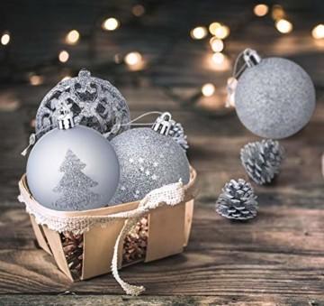 Homewit 116-teilig Weihnachtskugeln Weihnachtsdeko Set, Weihnachtsbaumspitze Stern Weihnachtsbaumschmuck Set in Silber, Kunststoff Weihnachtsbaumkugeln mit Aufhänger Plastik Christbaumkugeln, Mehrweg - 7