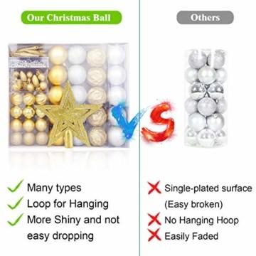 HOWAF Christbaumkugeln Set - 50 Stück weihnachtsbaumkugeln aus Kunststoff - Gold und Silber, Christbaumkugeln Plastik Bruchsicher mit Aufhänger für Weihnachtsbaum Deko & weihnachtsbaumschmuck - 3