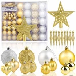HOWAF Christbaumkugeln Set - 50 Stück weihnachtsbaumkugeln aus Kunststoff - Gold und Silber, Christbaumkugeln Plastik Bruchsicher mit Aufhänger für Weihnachtsbaum Deko & weihnachtsbaumschmuck - 1