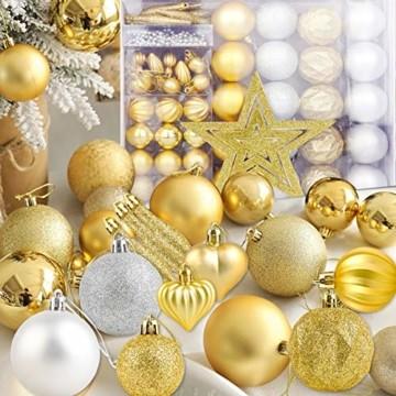 HOWAF Christbaumkugeln Set - 50 Stück weihnachtsbaumkugeln aus Kunststoff - Gold und Silber, Christbaumkugeln Plastik Bruchsicher mit Aufhänger für Weihnachtsbaum Deko & weihnachtsbaumschmuck - 4