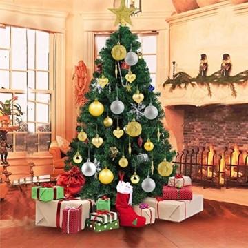 HOWAF Christbaumkugeln Set - 50 Stück weihnachtsbaumkugeln aus Kunststoff - Gold und Silber, Christbaumkugeln Plastik Bruchsicher mit Aufhänger für Weihnachtsbaum Deko & weihnachtsbaumschmuck - 5