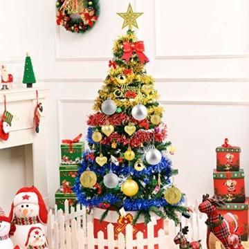 HOWAF Christbaumkugeln Set - 50 Stück weihnachtsbaumkugeln aus Kunststoff - Gold und Silber, Christbaumkugeln Plastik Bruchsicher mit Aufhänger für Weihnachtsbaum Deko & weihnachtsbaumschmuck - 6
