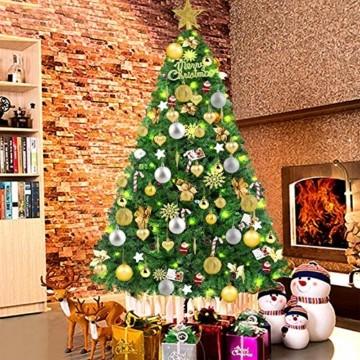 HOWAF Christbaumkugeln Set - 50 Stück weihnachtsbaumkugeln aus Kunststoff - Gold und Silber, Christbaumkugeln Plastik Bruchsicher mit Aufhänger für Weihnachtsbaum Deko & weihnachtsbaumschmuck - 7