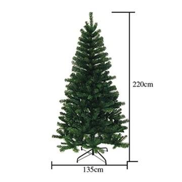huigou HG® 220cm Grün Künstlicher Weihnachtsbaum künstliche Weihnachtsbäume Metallständer Kunststoff Nadeln PVC Hart und Weichnadel Premium Spritzguss Qualität für Outdoor Innen - 4