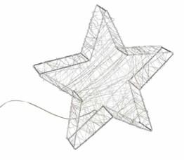 Idena 30470 - LED Dekoleuchte Stern aus Metall, mit 120 LED in warm weiß, batteriebetrieben, 6 Stunden Timer Funktion, Innen und Außenbereich, ca. 38 x 36 x 6 cm, für Weihnachten, als Stimmungslicht - 1