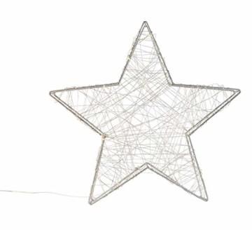 Idena 30470 - LED Dekoleuchte Stern aus Metall, mit 120 LED in warm weiß, batteriebetrieben, 6 Stunden Timer Funktion, Innen und Außenbereich, ca. 38 x 36 x 6 cm, für Weihnachten, als Stimmungslicht - 5