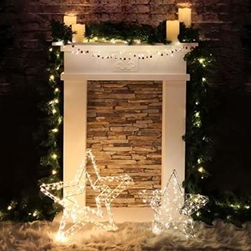 Idena 30470 - LED Dekoleuchte Stern aus Metall, mit 120 LED in warm weiß, batteriebetrieben, 6 Stunden Timer Funktion, Innen und Außenbereich, ca. 38 x 36 x 6 cm, für Weihnachten, als Stimmungslicht - 7