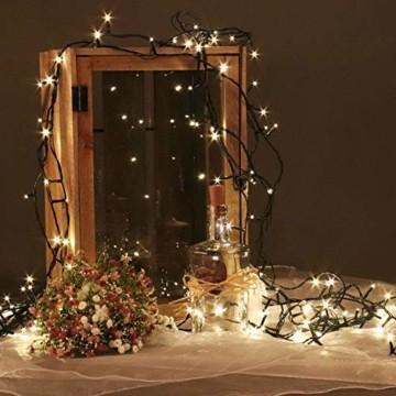 Idena 31090 - LED Lichterkette mit 600 LED in warm weiß, mit 8 Stunden Timer Funktion, Innen und Außenbereich, für Partys, Weihnachten, Deko, Hochzeit, als Stimmungslicht, ca. 50 m - 3