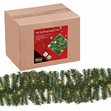 Idena 31854 LED Tannengirlande mit 160 LED warm weiß, mit 8 Stunden Timer Funktion, für Advent, Weihnachten, Deko, als Stimmungslicht, ca. 25 cm x 10 m - 1