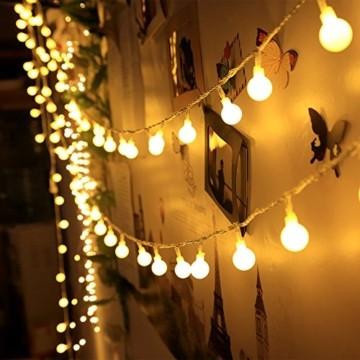 infinitoo LED Globe Lichterkette, 10M 100 LEDS Glühbirne Lichterkette Wasserdicht mit 8 Modi, Innen- Außen Beleuchtung für Weihnachten, Party, Garten, Balkon, Zimmer Deko [Energieklasse A++] - 3