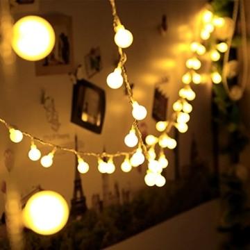 infinitoo LED Globe Lichterkette, 10M 100 LEDS Glühbirne Lichterkette Wasserdicht mit 8 Modi, Innen- Außen Beleuchtung für Weihnachten, Party, Garten, Balkon, Zimmer Deko [Energieklasse A++] - 4
