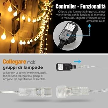 infinitoo LED Globe Lichterkette, 10M 100 LEDS Glühbirne Lichterkette Wasserdicht mit 8 Modi, Innen- Außen Beleuchtung für Weihnachten, Party, Garten, Balkon, Zimmer Deko [Energieklasse A++] - 5