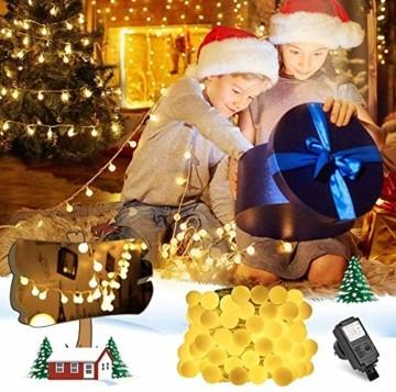 infinitoo LED Globe Lichterkette, 10M 100 LEDS Glühbirne Lichterkette Wasserdicht mit 8 Modi, Innen- Außen Beleuchtung für Weihnachten, Party, Garten, Balkon, Zimmer Deko [Energieklasse A++] - 6