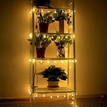 infinitoo LED Globe Lichterkette, 10M 100 LEDS Glühbirne Lichterkette Wasserdicht mit 8 Modi, Innen- Außen Beleuchtung für Weihnachten, Party, Garten, Balkon, Zimmer Deko [Energieklasse A++] - 7