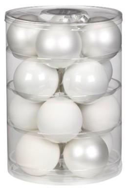 Inge Glas 15112D004 Kugel 75 mm, 16-Stück/Dose , Just white Mix(weiss,porzellanweiss) - 1
