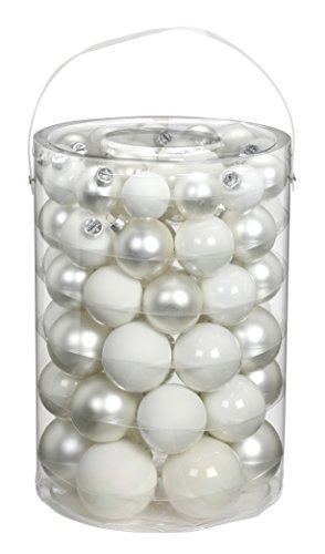 Inge-glas 15112E460-MO Glaskugel Sortiment 60 Stück Vorteilsdose, 18x4cm / 20x5cm / 16x6cm / 6x7cm Just White-Mix, (Weiß matt, Porzellan weiß matt+opal) - 1