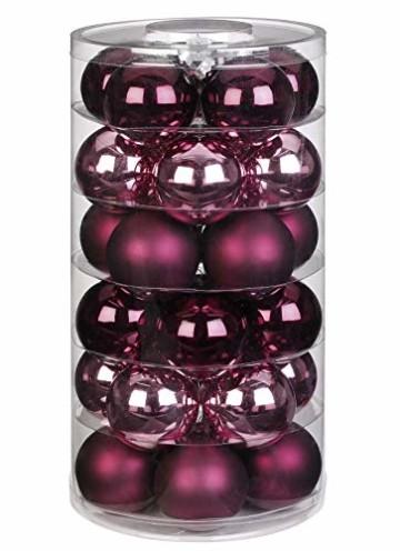Inge Glas Weihnachtskugeln | Schöne Christbaumkugeln aus Glas | 30 Kugen in Dose | Christbaumschmuck Weihnachtsbaumschmuck Weihnachtsbaumkugeln (Berry Kiss | rot Beere Glanz/matt) - 1