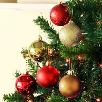 Jinlaili 24PCS Christbaumkugeln, 6CM Weihnachtskugeln Ornamente, Weihnachtsdeko, Christbaumkugel, Weihnachtskugel Kugel, Baumschmuck Weihnachten, Christbaumschmuck Weihnachten Dekoration (Bunt) - 4