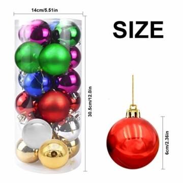 Jinlaili 24PCS Christbaumkugeln, 6CM Weihnachtskugeln Ornamente, Weihnachtsdeko, Christbaumkugel, Weihnachtskugel Kugel, Baumschmuck Weihnachten, Christbaumschmuck Weihnachten Dekoration (Bunt) - 5