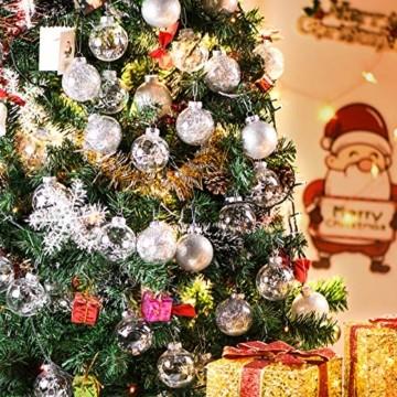 Joyjoz 24 Stücke Weihnachtskugeln, Funkelnde Kunststoff Weihnachtsbaumkugeln, Christbaumkugeln Plastik Bruchsicher Weihnachtsbaum Deko & Christbaumschmuck - 2