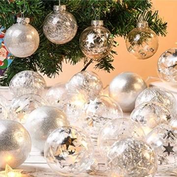 Joyjoz 24 Stücke Weihnachtskugeln, Funkelnde Kunststoff Weihnachtsbaumkugeln, Christbaumkugeln Plastik Bruchsicher Weihnachtsbaum Deko & Christbaumschmuck - 3