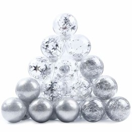 Joyjoz 24 Stücke Weihnachtskugeln, Funkelnde Kunststoff Weihnachtsbaumkugeln, Christbaumkugeln Plastik Bruchsicher Weihnachtsbaum Deko & Christbaumschmuck - 1