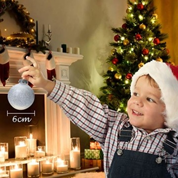 Joyjoz 24 Stücke Weihnachtskugeln, Funkelnde Kunststoff Weihnachtsbaumkugeln, Christbaumkugeln Plastik Bruchsicher Weihnachtsbaum Deko & Christbaumschmuck - 4