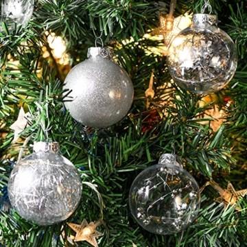Joyjoz 24 Stücke Weihnachtskugeln, Funkelnde Kunststoff Weihnachtsbaumkugeln, Christbaumkugeln Plastik Bruchsicher Weihnachtsbaum Deko & Christbaumschmuck - 5