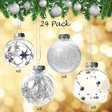 Joyjoz 24 Stücke Weihnachtskugeln, Funkelnde Kunststoff Weihnachtsbaumkugeln, Christbaumkugeln Plastik Bruchsicher Weihnachtsbaum Deko & Christbaumschmuck - 6