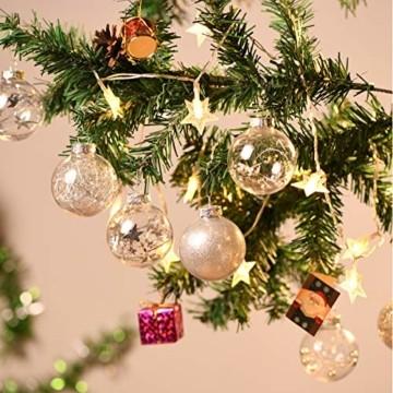 Joyjoz 24 Stücke Weihnachtskugeln, Funkelnde Kunststoff Weihnachtsbaumkugeln, Christbaumkugeln Plastik Bruchsicher Weihnachtsbaum Deko & Christbaumschmuck - 7