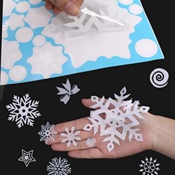 JUYOO 108 Weihnachts Schneeflocke Fenster haftet Aufkleber, Abnehmbare Statisch Weihnachten Fensterbild für Weihnachts Fenster Anzeige, Partyzubehör, Winter Dekoration (4 Blätter) - 4