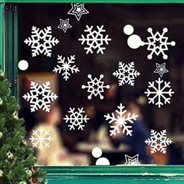JUYOO 108 Weihnachts Schneeflocke Fenster haftet Aufkleber, Abnehmbare Statisch Weihnachten Fensterbild für Weihnachts Fenster Anzeige, Partyzubehör, Winter Dekoration (4 Blätter) - 1