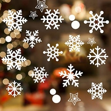 JUYOO 108 Weihnachts Schneeflocke Fenster haftet Aufkleber, Abnehmbare Statisch Weihnachten Fensterbild für Weihnachts Fenster Anzeige, Partyzubehör, Winter Dekoration (4 Blätter) - 5