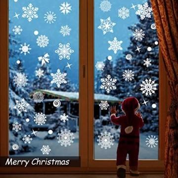 JUYOO 108 Weihnachts Schneeflocke Fenster haftet Aufkleber, Abnehmbare Statisch Weihnachten Fensterbild für Weihnachts Fenster Anzeige, Partyzubehör, Winter Dekoration (4 Blätter) - 6