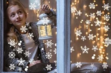 JUYOO 108 Weihnachts Schneeflocke Fenster haftet Aufkleber, Abnehmbare Statisch Weihnachten Fensterbild für Weihnachts Fenster Anzeige, Partyzubehör, Winter Dekoration (4 Blätter) - 7
