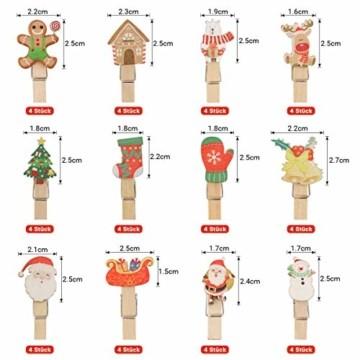 K KUMEED 48 Stück Weihnachtsdeko Holzklammern Weihnachten Klammern für Fotos, Mini Holz Handwerk Wäscheklammern Foto Papier Stift Handwerk Clip, Mini Holzklammern Weihnachten Klammern Holz Deko - 2