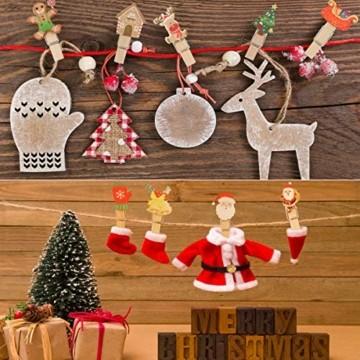 K KUMEED 48 Stück Weihnachtsdeko Holzklammern Weihnachten Klammern für Fotos, Mini Holz Handwerk Wäscheklammern Foto Papier Stift Handwerk Clip, Mini Holzklammern Weihnachten Klammern Holz Deko - 3