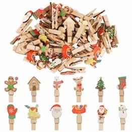 K KUMEED 48 Stück Weihnachtsdeko Holzklammern Weihnachten Klammern für Fotos, Mini Holz Handwerk Wäscheklammern Foto Papier Stift Handwerk Clip, Mini Holzklammern Weihnachten Klammern Holz Deko - 1