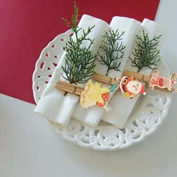 K KUMEED 48 Stück Weihnachtsdeko Holzklammern Weihnachten Klammern für Fotos, Mini Holz Handwerk Wäscheklammern Foto Papier Stift Handwerk Clip, Mini Holzklammern Weihnachten Klammern Holz Deko - 4