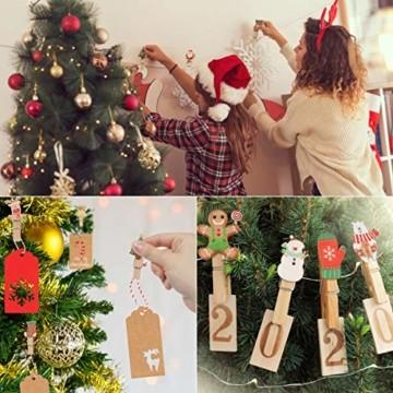 K KUMEED 48 Stück Weihnachtsdeko Holzklammern Weihnachten Klammern für Fotos, Mini Holz Handwerk Wäscheklammern Foto Papier Stift Handwerk Clip, Mini Holzklammern Weihnachten Klammern Holz Deko - 6