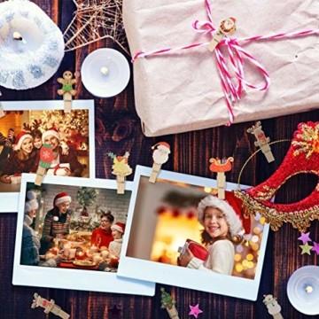 K KUMEED 48 Stück Weihnachtsdeko Holzklammern Weihnachten Klammern für Fotos, Mini Holz Handwerk Wäscheklammern Foto Papier Stift Handwerk Clip, Mini Holzklammern Weihnachten Klammern Holz Deko - 7