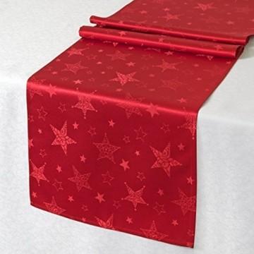 Kamaca Lotus Effekt Tischdecke Magic Stars mit Sternen Motiv - mit FLECKSCHUTZ - Flüssigkeiten perlen einfach ab Winter Weihnachten (Tischläufer 40x140 cm, Rot) - 1