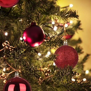 KATELUO 100 Stück Weihnachtskugeln Kunststoff, Christbaumkugeln, Weihnachtsdeko, Rote Weihnachtskugeln, Glitzernd, Matt, Glänzend Weihnachtskugeln Set, Ø 3, 4 & 6cm - 3