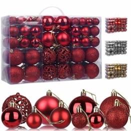 KATELUO 100 Stück Weihnachtskugeln Kunststoff, Christbaumkugeln, Weihnachtsdeko, Rote Weihnachtskugeln, Glitzernd, Matt, Glänzend Weihnachtskugeln Set, Ø 3, 4 & 6cm - 1